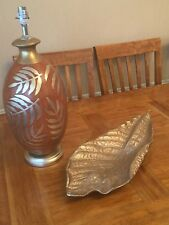 LARGE LAMP BASE BROWN CERAMIC SILVERY GOLD LEAF HAND PAINTED