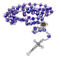 Catholic Rosary Necklace Blue Crystal Beads Holy Soil Medal & Cross Crucifix NS