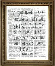ROALD DAHL QUOTATION PRINT - Twits Lovely Sunbeams Quote on Dictionary Page