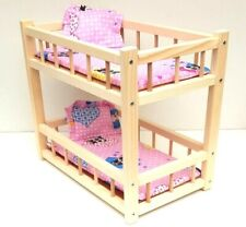 "Wooden toy bunk bed for 2 dolls 14 "" long, preschool girl's toy mattress& pillow"