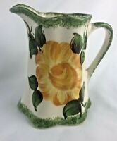 """CASH FAMILY POTTERY - HAND PAINTED - YELLOW & GREEN BUTTERMILK PITCHER - 4"""" tall"""