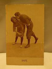 "ANTIQUE VINTAGE ""SAFE"" SEPIA COMIC BASEBALL POSTCARD UNUSED COPYRIGHT 1910"