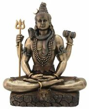 Hindu Deity Lord Shiva in Padmasana Pose Bronze Finished Resin Statue #3081