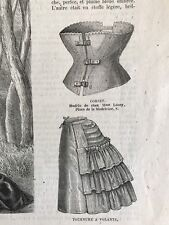 French MODE ILLUSTREE SEWING PATTERN Feb 21,1875 TOURNURES, CORSETS