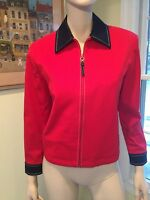 ST JOHN Red & Blue Size Small Cotton-Blend Nautical Full-Zip Blazer Jacket