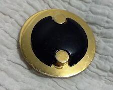 ANCIENNE BOUCLE DE CEINTURE GALALITHE noir monture métal doré 6 cm Buckle C1