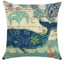 "Blue Whale Cushion Cover, New, Large 17""x17"""