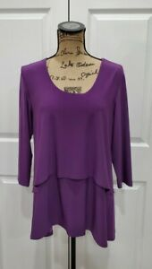 SYMPLI $145 Signature Stretch Tiered Layered Scoop Neck Tunic Top Size 12