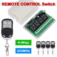 433MHz 4CH 12V DC Wireless RF Remote Control Relay Switch Transmitter Receiver