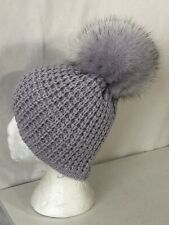 2aacc0b7b70 OS Purple Women s Kyi Kyi Genuine Fox Fur Pom Pom Waffle Knit Beanie Hat