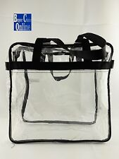 """12"""" CLEAR STADIUM SECURITY TOTE DOUBLE ZIPPER PULL BLACK TRIM FREE SHIPPING"""