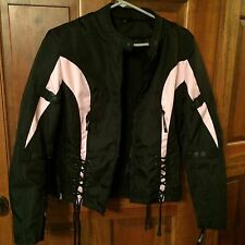 X-Element Women's Black/pink Tri-Tex Vented Motorcycle Jacket Level-3 Body Armor