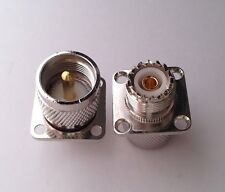 UHF Female SO239 to UHF Male PL259 with 4 holes flange RF Coax Adapter Connector