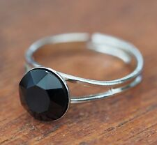 Nuevo anillo 8mm Swarovski piedra en jet/negro ajustable en tamaño anillo de mujer