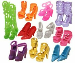 10pairs Colorful Heels Sandals Shoes For Barbie Doll Best Gift Doll Accessories