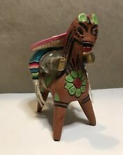 """Vintage Mexican Donkey Burro Clay 7"""" horse with 2 mini bottles, serape, and hat"""