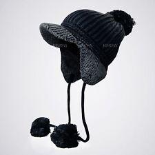 Lined Visor Trapper POM Ear Flap Baggy Beanie Hat Knit Winter Ski Cap Skull