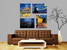 TIME4ART VINCENT VAN GOGH STARRY NIGHT CANVAS PRINT GICLEE SET 4 PCS 16''x12''in