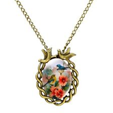 Vintage Flower Bird Summery Oval Silver Alloy Necklace Chain Statement Pendant