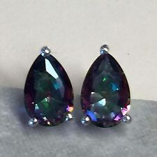 Gorgeous 2ct Mystic Topaz 925 Solid Sterling Silver Stud Pear Earrings 9mm