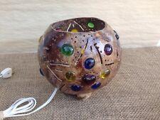 Hand Made Coconut Shell Glass Bead Embedded Folk Art Island Decorative Lamp