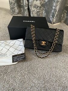 Chanel Medium Classic Double Flap Handbag In Black With Gold Hardware
