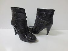 MISS SIXTY Vania Black Leather Purple Stitch Strappy Ankle Boots Shoes 36 MINT