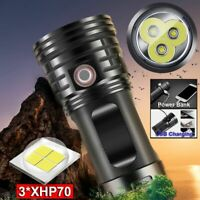 120000 Lumens 3*XHP70 LED Flashlight Torch USB Rechargeable Tactical Lamp Light