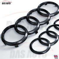CARBON FIBRE GRILL & REAR BADGE EMBLEM RINGS AUDI a3 a4 a5 s3 s4 rs quattro cgs