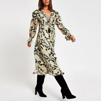Ex River Island Floral Cream Midi Dress Size 8 - 18 RRP £46