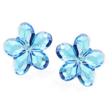 Men's Women's Small Hypoallergenic Crystal Round Stud Earrings Gift Present One Size Blue Flower