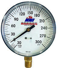 "3-1/2"" Dial Vacuum Pressure Gauge 30-0"" Hg Vacuum 0-300 Psi"