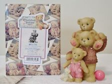 "Cherished Teddies ""DAD, DRAKE AND DUSTEE"" DAD WITH TWO KIDS TRIPLE FIGURINE"