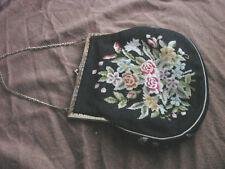 Vintage Purse Petit Point Flowers Rhinestone Clasp VGC Hand Bag