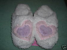 Charter Club Hearts lavender white Pink 5-6 Small Rubber Sole Slippers