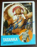 Tatanka Signed 2006 Topps Heritage WWE Legends Card #4 Autographed WWF Superstar