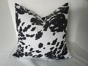 Pillow Cover Cow Hide Print Cotton Duck Black and White Choose Size Handmande
