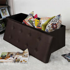 Folding Storage Ottoman Faux Leather Large Bench Brown Footstool Bedroom  Furni