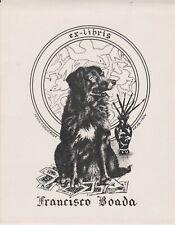 ex-libris Francisco Boada par jésus cardenosa 1954 (chien)
