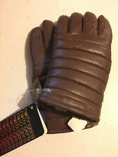 Vintage Hotfingers Mens Large Wells Lamont Leather Gloves Puffy Brown Deadstock
