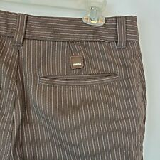 O'Neill Mens Casual Shorts Sz 31x9 Brown Flat Front Striped Cotton Blend A47-01