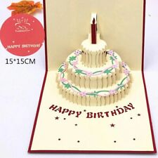 Handmade Happy Birthday Gift Cake Card  Greeting Cards With Envelope Postcard
