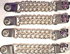 4 PURPLE BUTTERFLY WOMEN'S DOUBLE CHAIN MOTORCYCLE BIKER VEST EXTENDERS USA MADE