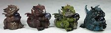 Set of 4 Baby Dragon with crystal ball Figurine 7cm Blue Burgundy Bronze Green