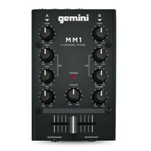 GEMINI MM1 2-CHANNEL COMPACT DJ MIXER WITH MIC INPUT