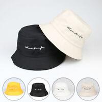 Unisex Bucket Cap Sun Shading Fisherman Hat Women Embroidered Fashion