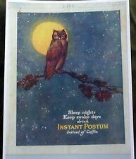 VINTAGE LIFE 1920 REPRINT INSTANT POSTUM INSTEAD OF COFFEE OWL FULL MOON