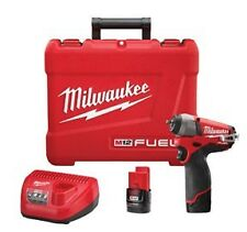 """Milwaukee M12 FUEL 1/4"""" dr Brushless Impact Wrench Kit w/ 2 Batteries #2452-22"""