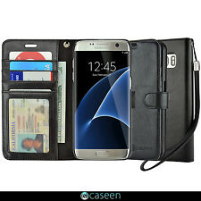 For Samsung Galaxy S7 Edge Wallet Case Luxury Leather Flip Card Cover BLACK