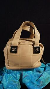 Authentic CHANEL 2003-2004 Beige Leather Patchwork Handbag Purse s/n 8839753